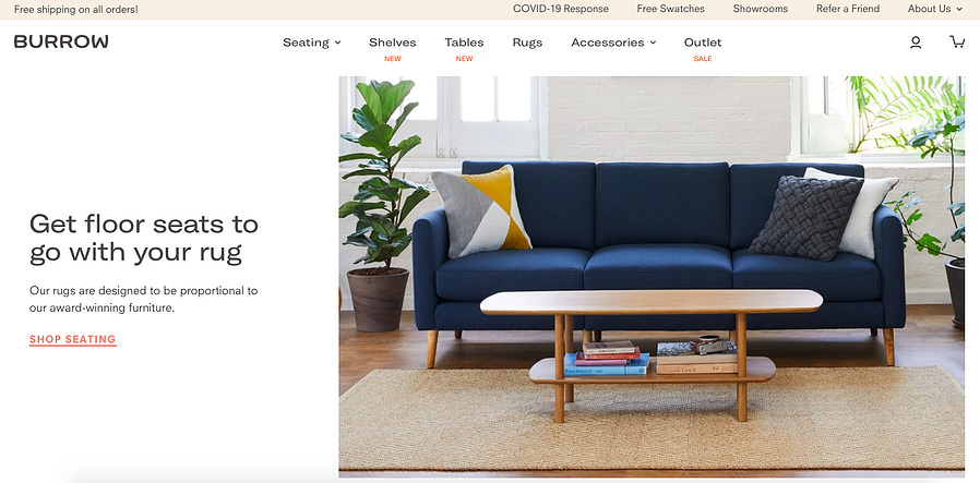 burrow furniture - online experience