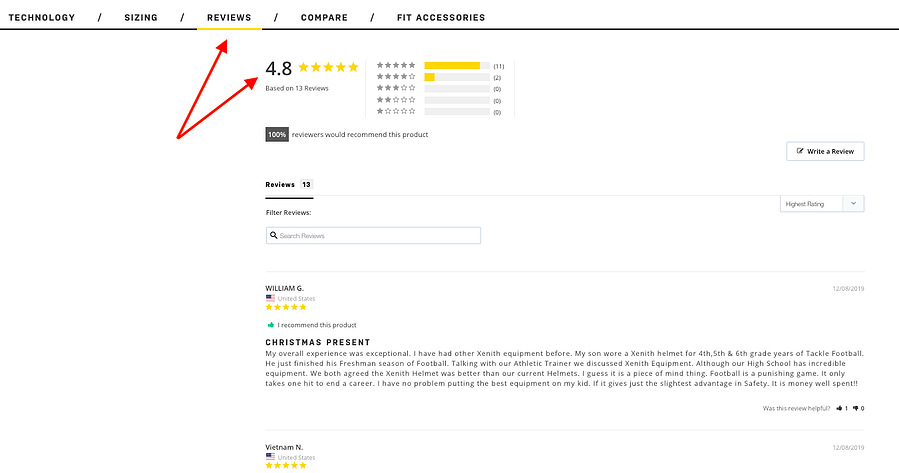 Show customer reviews on product pages