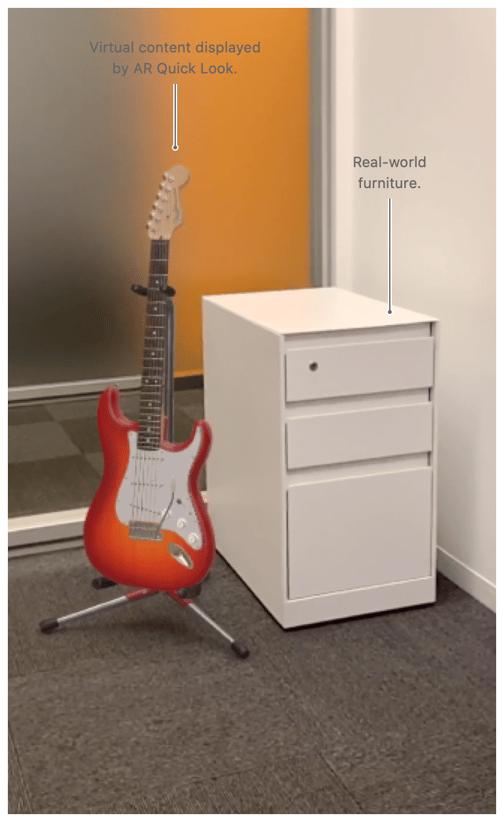 virtual guitar next to drawers