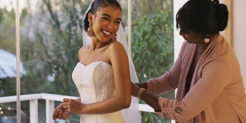 Bride wearing a custom wedding dress made in an apparel configurator