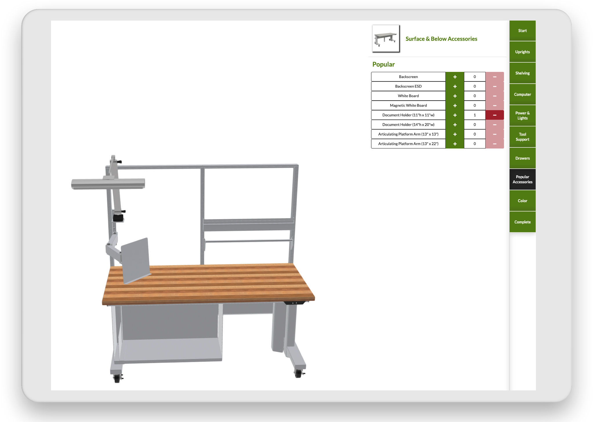 3D configurator image for table and tools