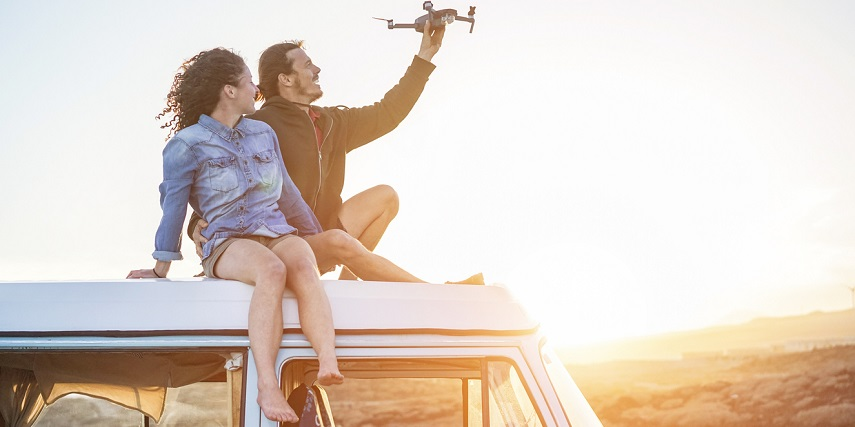 Couple testing a drone they created through a drone configurator