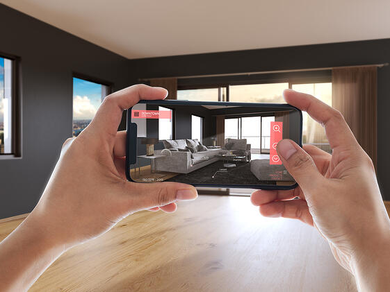 Customer shopping for home furniture on an online store with a visual configurator paired with augmented reality