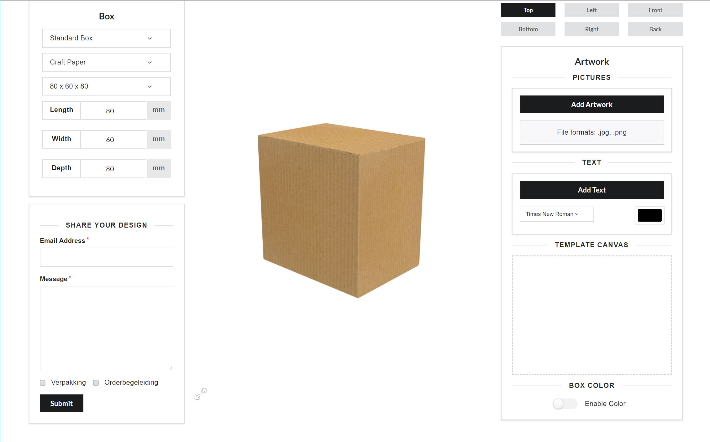interface for creating custom boxes through a product configurator