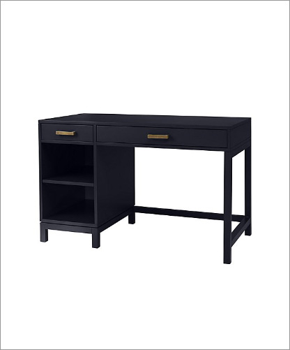black desk w white background