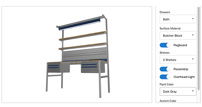 3D product view of work bench