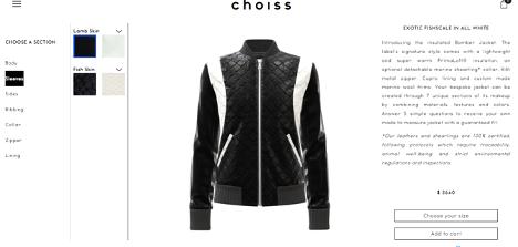 Choiss sports jacket customizer