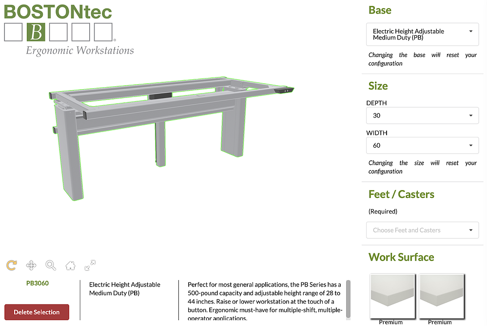 Bostontec online workstation customizer