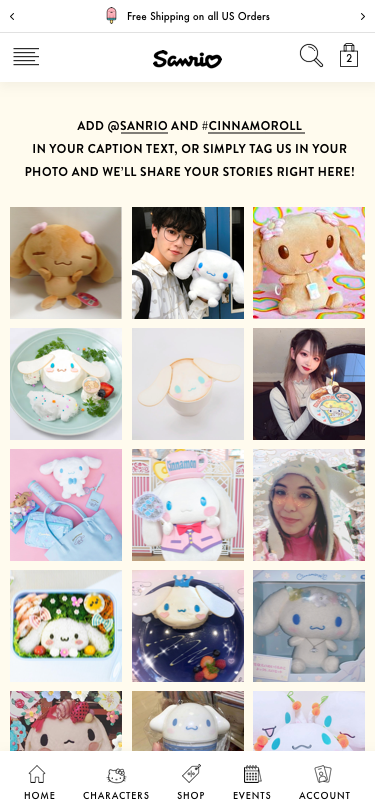 Design mockups for Sanrio ecommerce experience