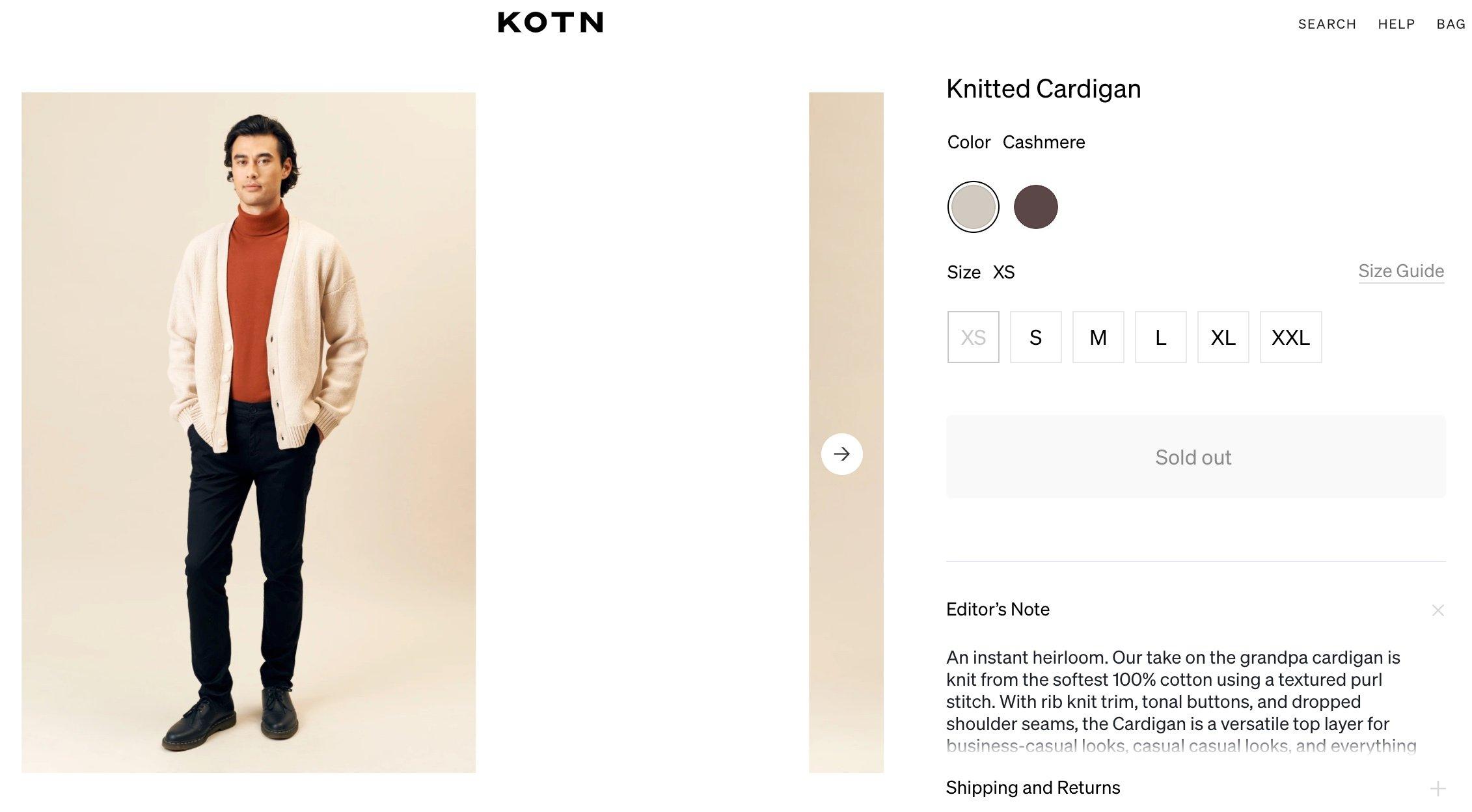 KOTN online mensware customizer