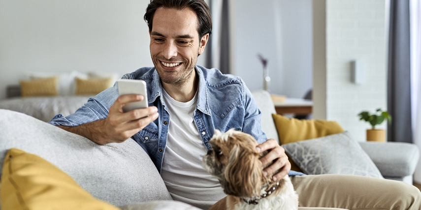 Man relaxing and shopping online on AR for eCommerce platforms