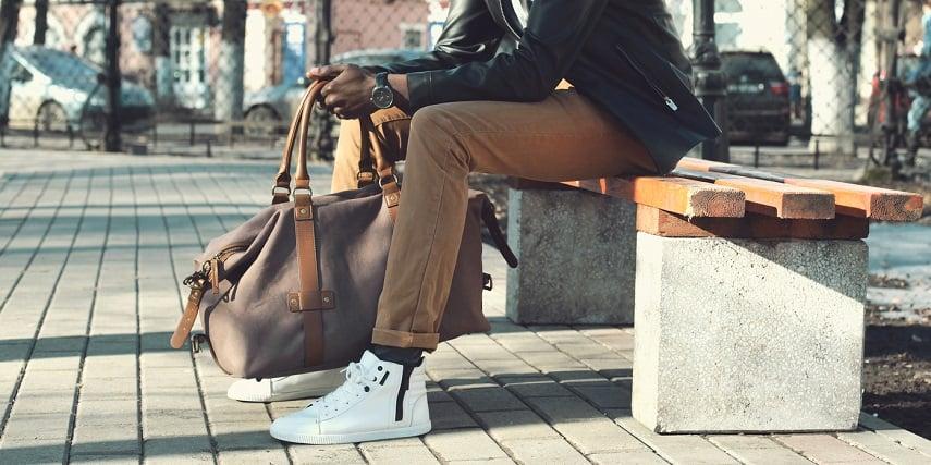 Man wearing custom sneakers he made in a shoe configurator