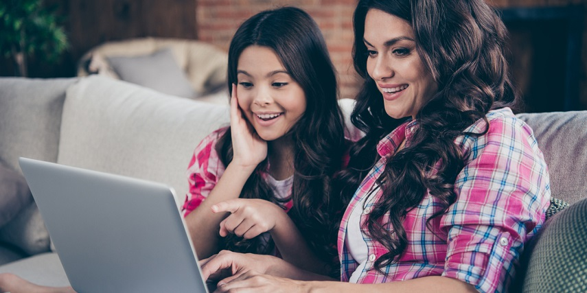 Mother and daughter creating gifts together through a Magento product configurator