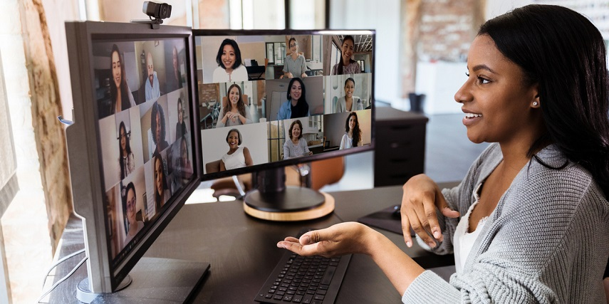 Professional hosting a comfortable video call on a desk ordered through a 3D customizer