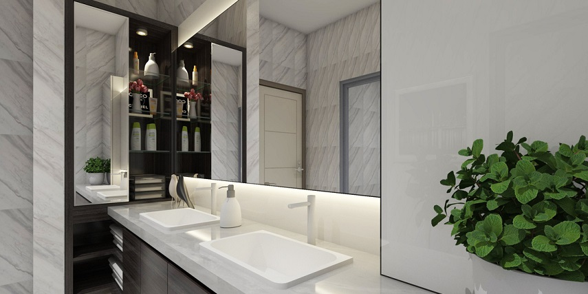 Remodeled bathroom with fixtures designed in a visual configurator