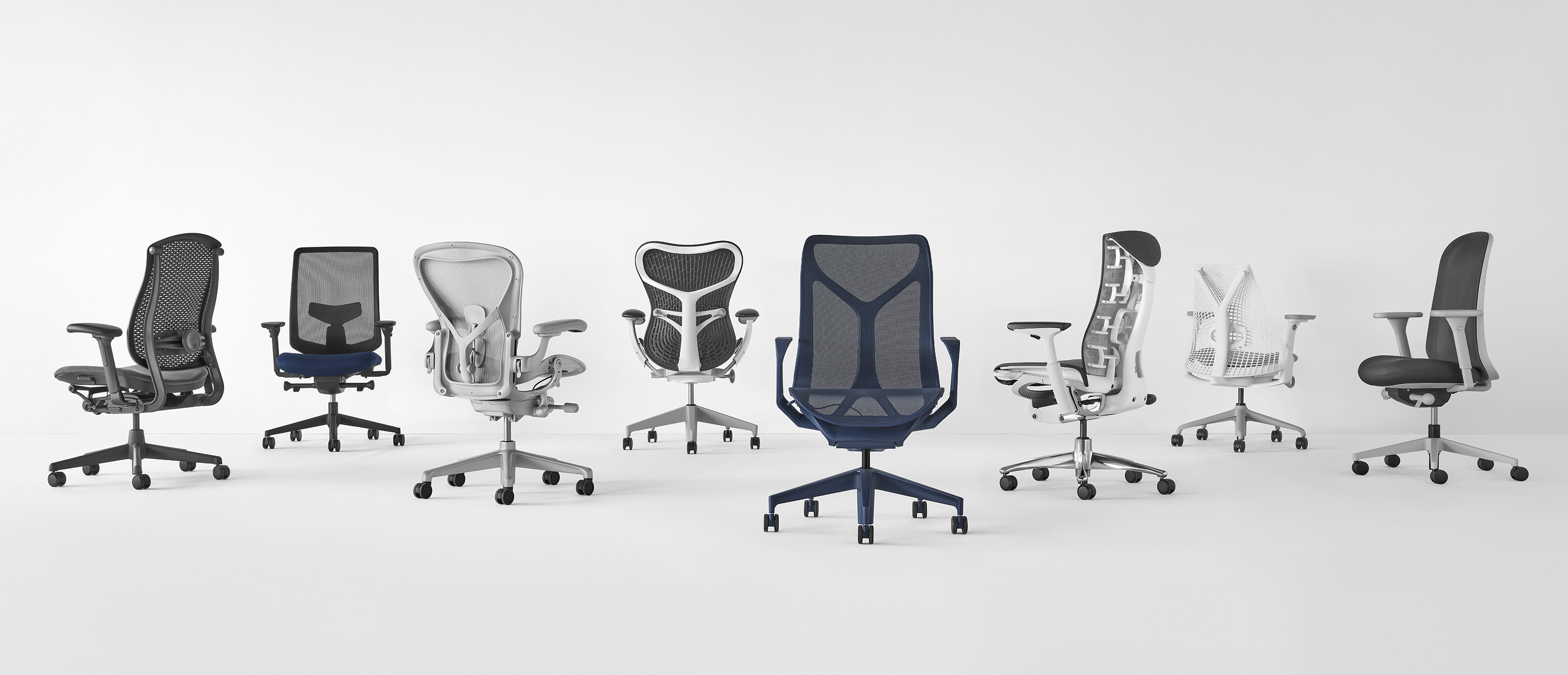 Row of virtually photographed Verus office chairs