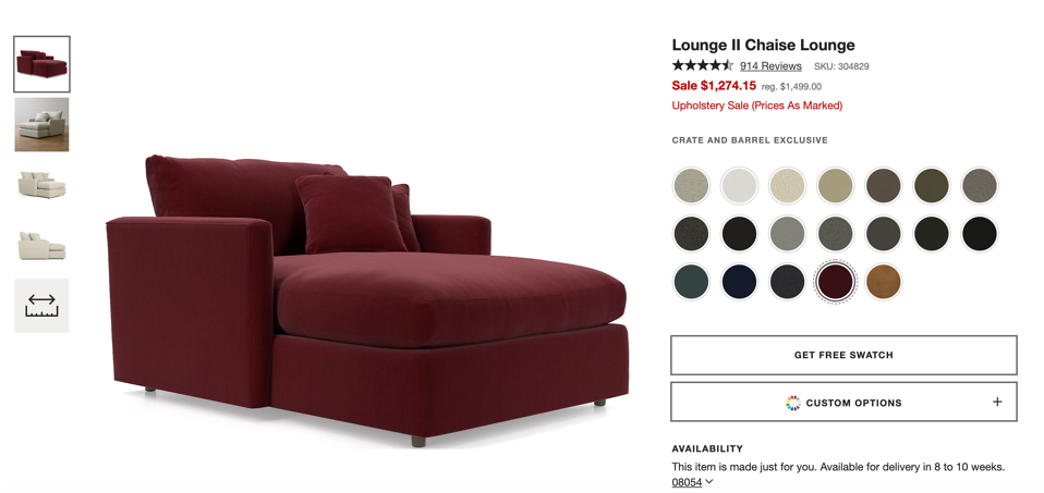 Crate and Barrel virtual photographer chaise image