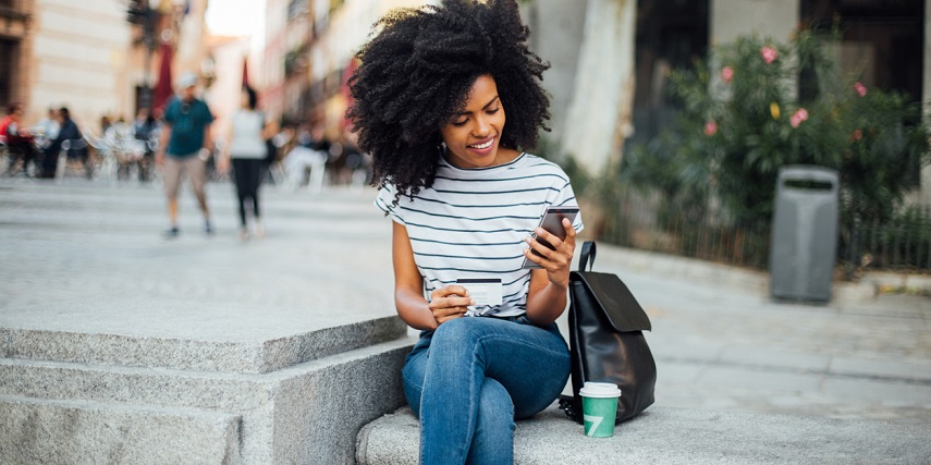 Shopper browsing online on her phone