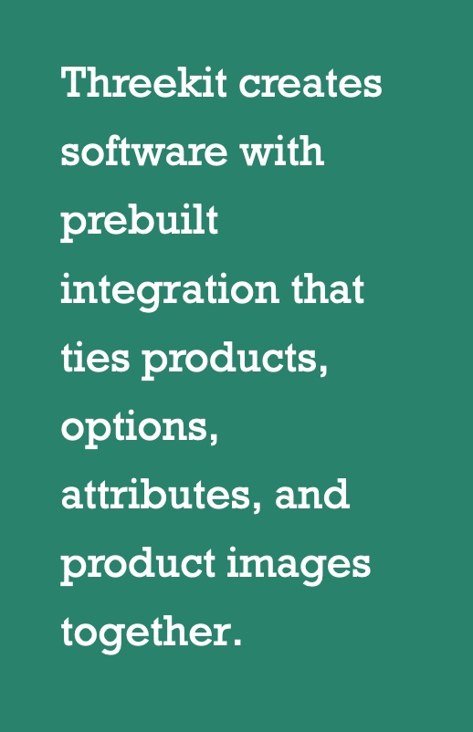Threekit is built to tie products, attributes, and product images together in any integration