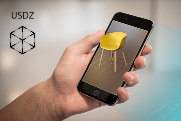 3D augmented reality model of chair seen from mobile