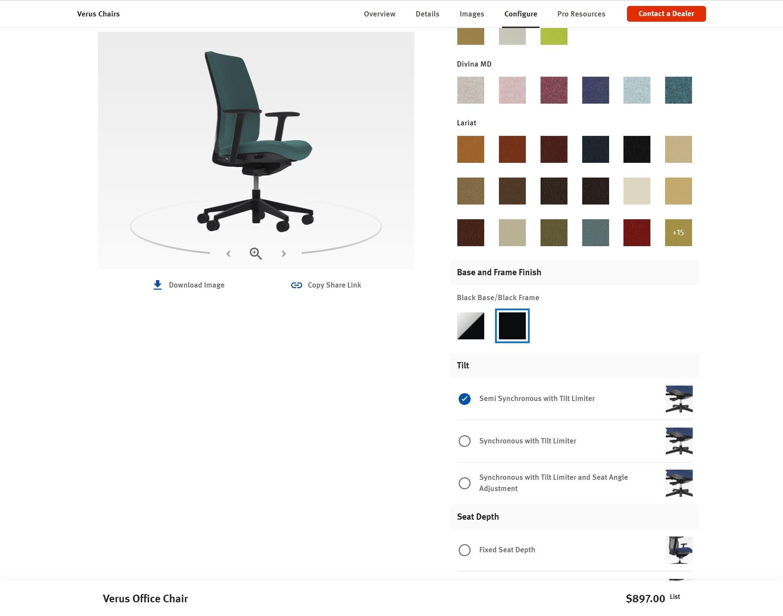 Verus Chairs Product Configurator