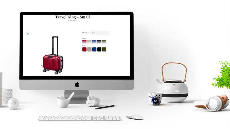 Luggage ecommerce experience image with customization