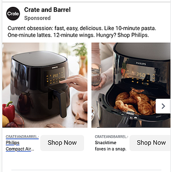 Crate and Barrel employs a carousel to show their products in action.