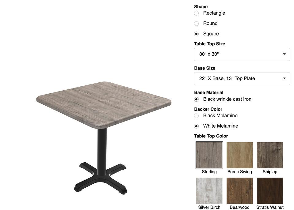 custom options for online table customizer