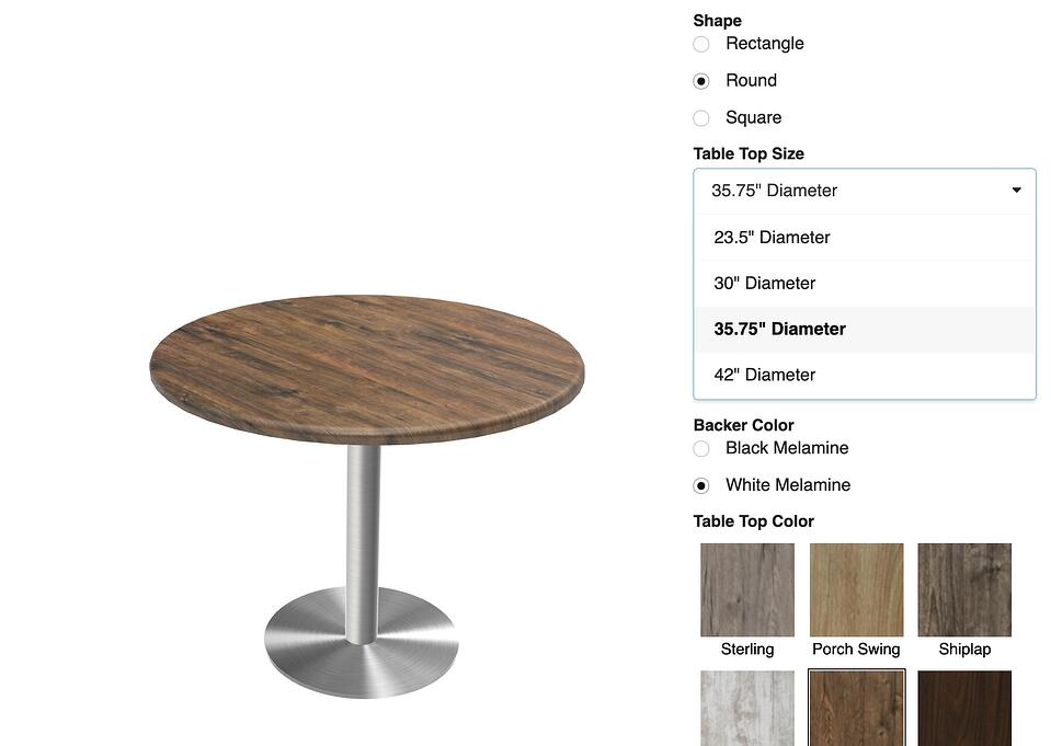 customizing table dimensions in real time