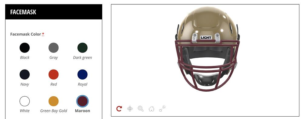 Colors to customize the helmet's facemask