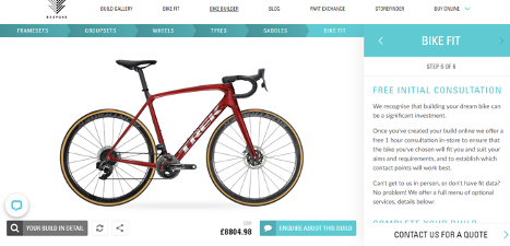 bike product configurator bespoke