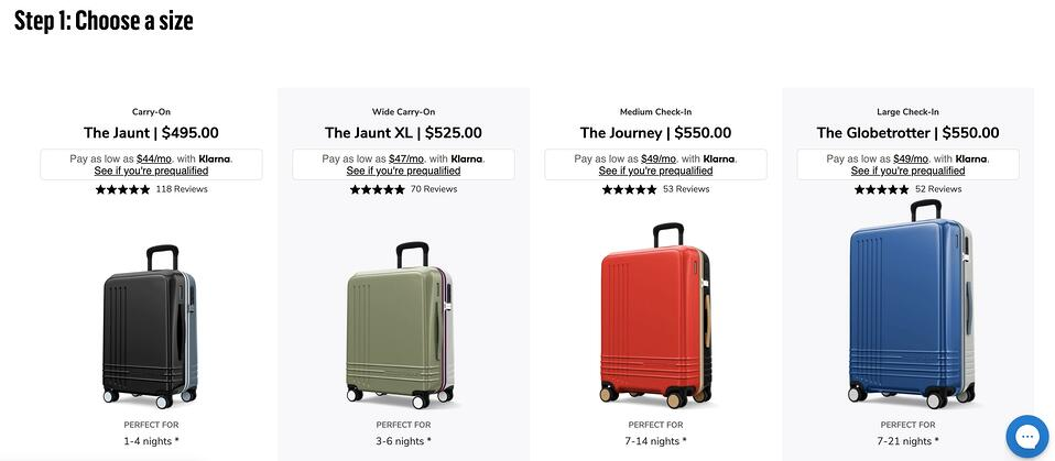 online product configurator for ROAM luggage