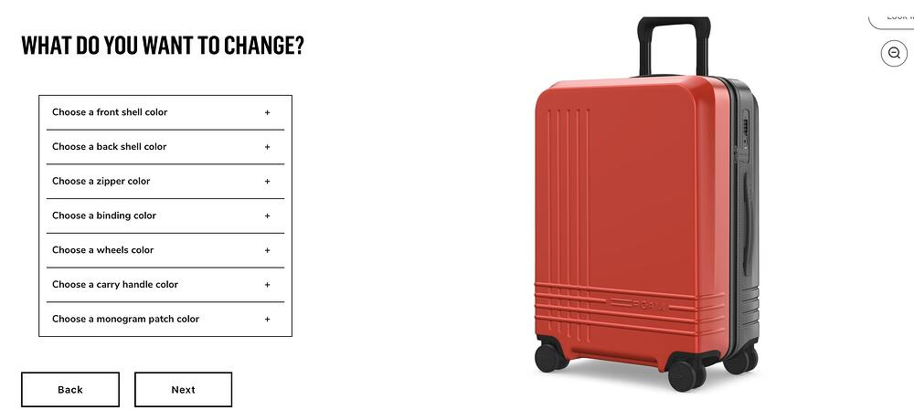 roam luggage online customizer