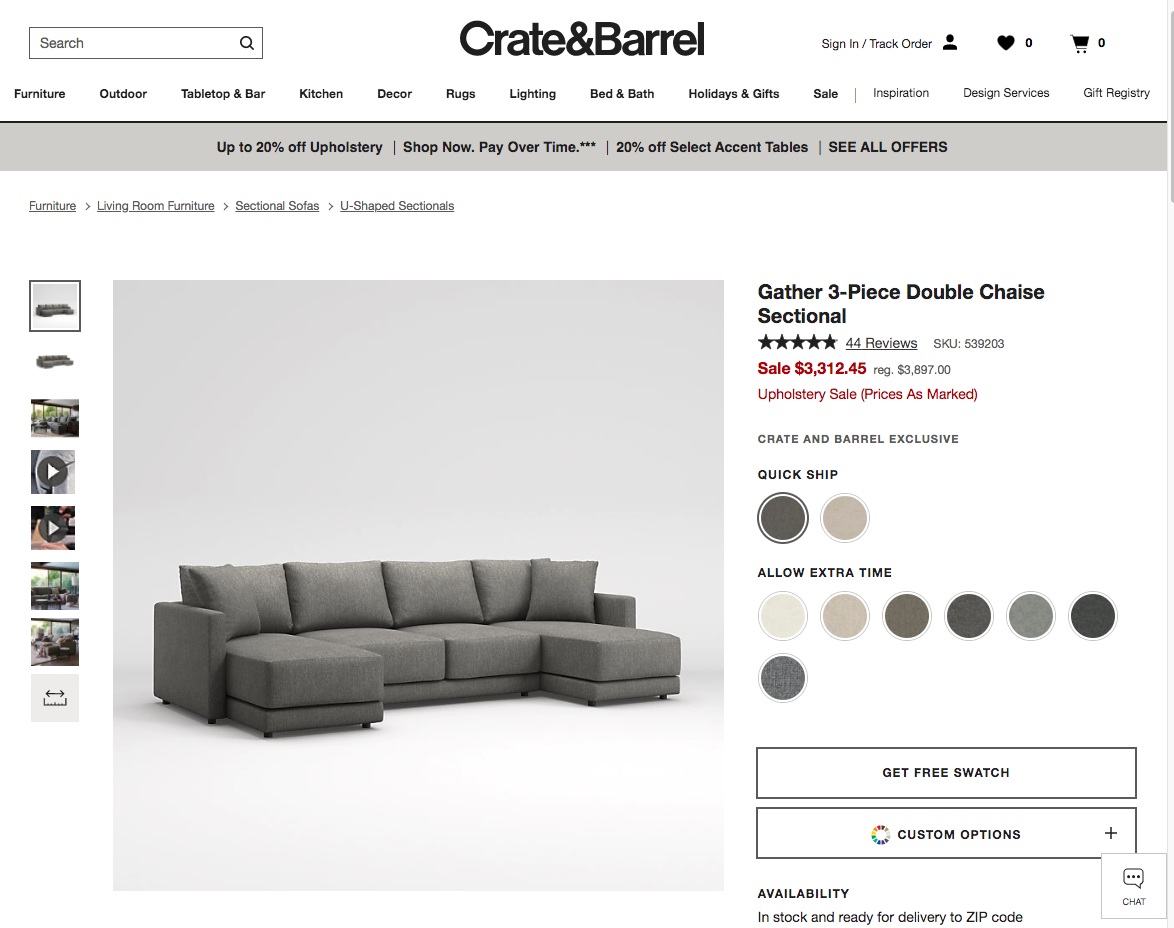 3d product photography / virtual photographer photo of crate & barrel couch