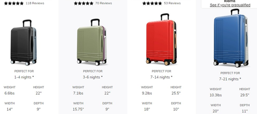 roam luggage customizer