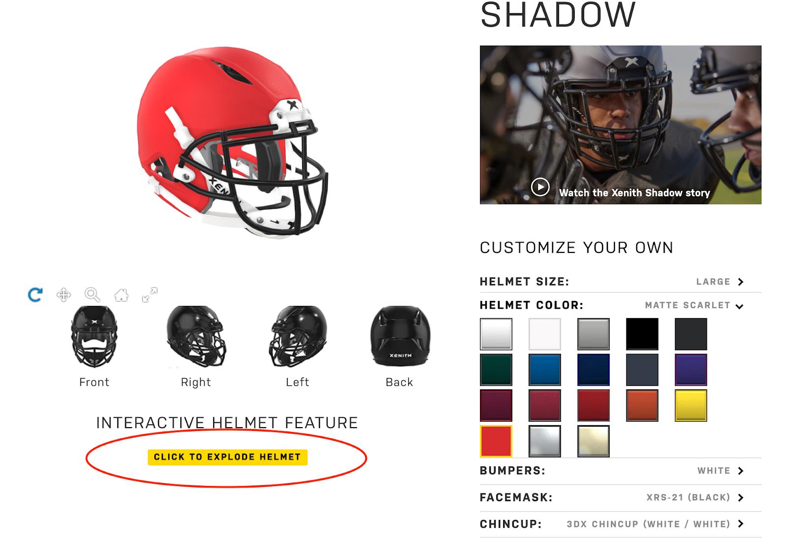Xenith helmet online customizer