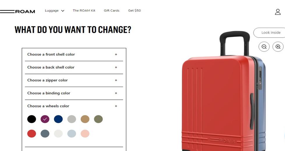 roam luggage customizer
