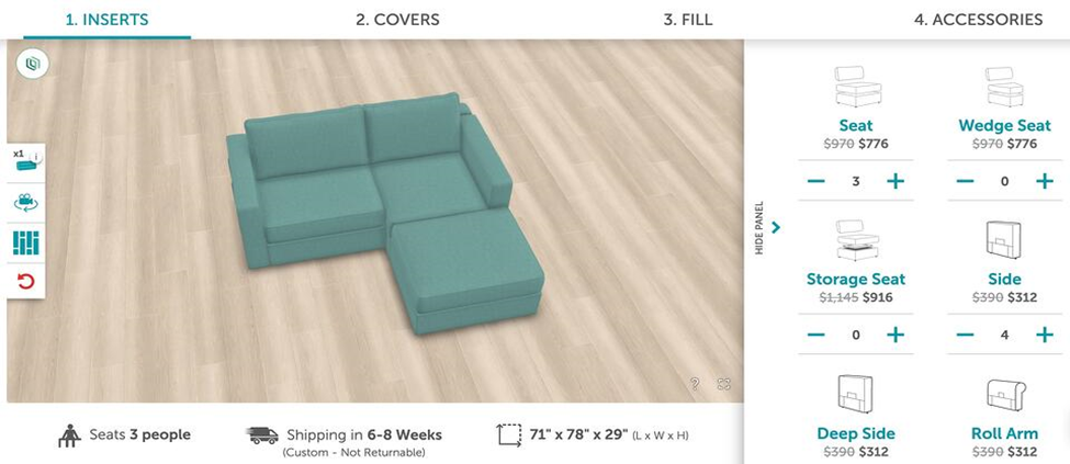 lovesac couch customizer