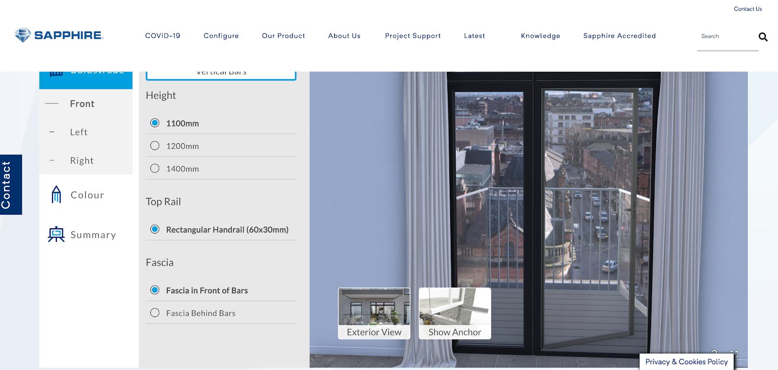 Sapphire balcony 3D customizer