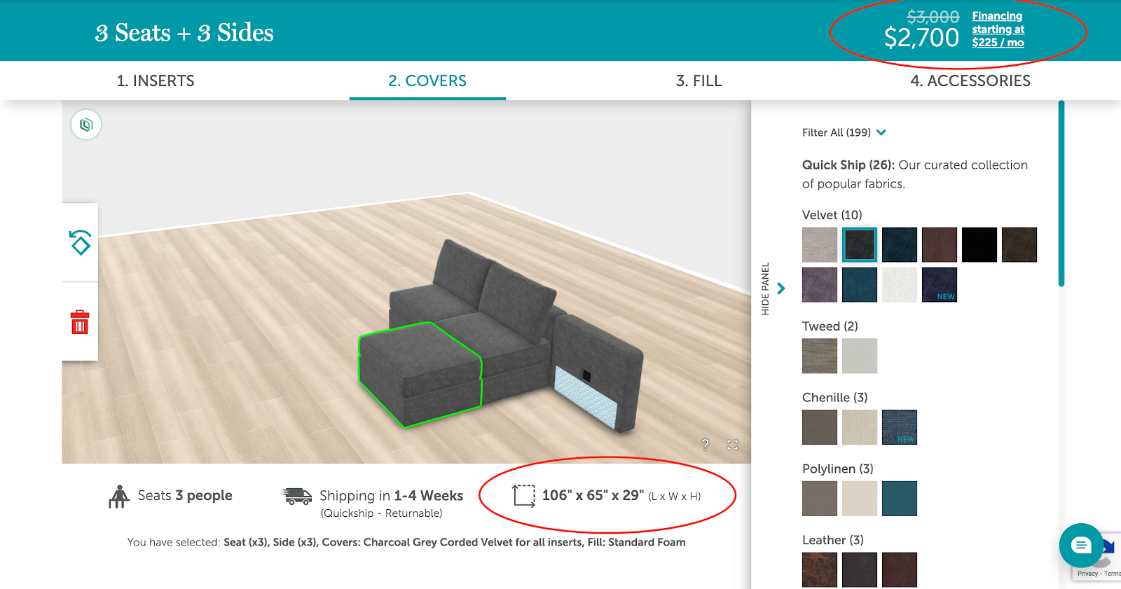 Lovesac couch configurator