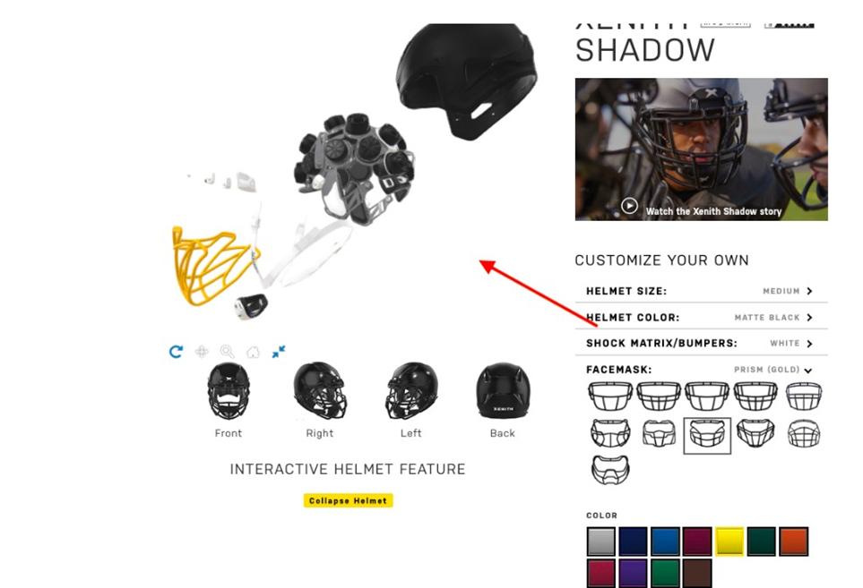 xenith helmet 3d explosion views